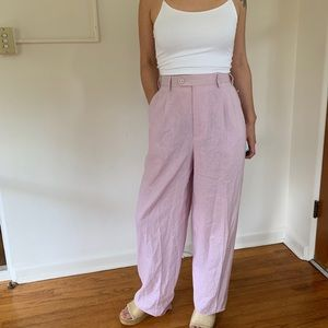 High waisted lilac linen wide leg pants trousers
